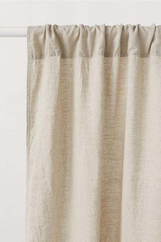 HM Neutral Linen Sheer Readymade Curtains