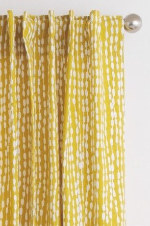 Habitat Mustard Patterned Readymade Curtains