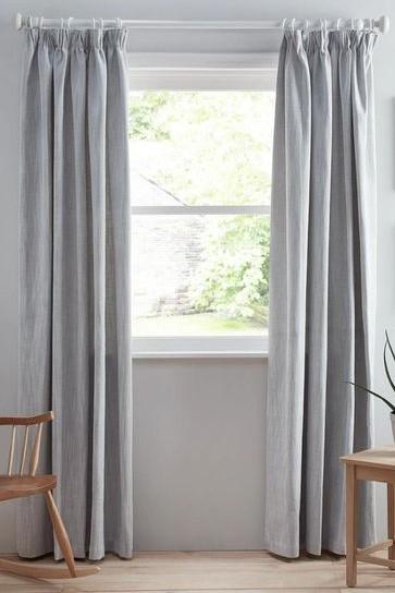John Lewis Blue Herringbone Readymade Curtains