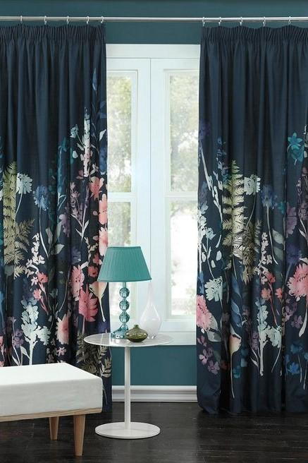 John Lewis Bluebell Grey Navy Readymade Curtains