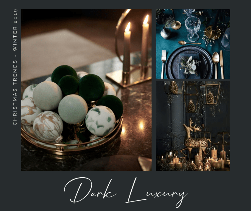 An inspiration board for dark christmas decorating trends with green baubles and gold reindeer decoration