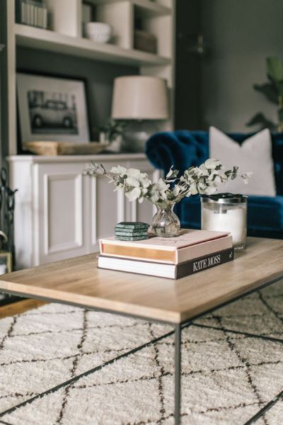 Cloe Up of coffee table with styled books and vase