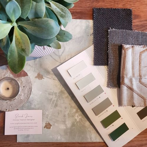 Interior design flatlay with fabric and paint colours