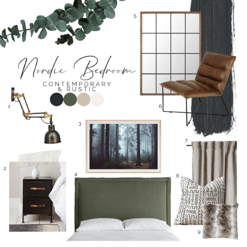 Interior design moodboard in rustic scandinavian style with furniture items and lights