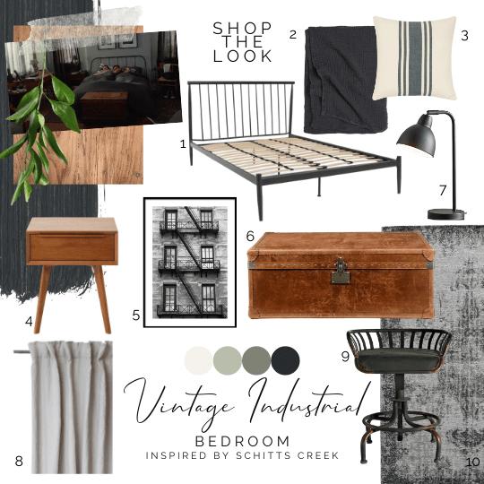 An interior design mopodboard inspired by bedroom in Schitt's Creek TV set