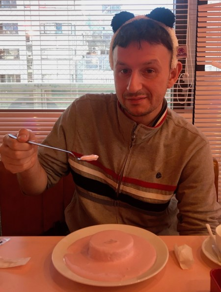 Angel cake with pink custard Maidreamin Maid Cafe Akihabara Electric Town Tokyo