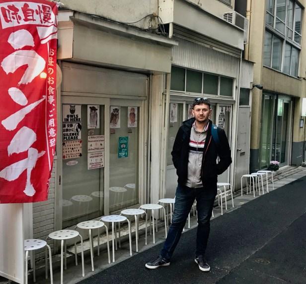 Outside Akiba Fukurou Owl Cafe, Akihabara Electric Town Tokyo.