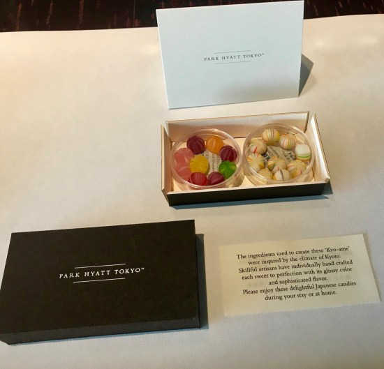 Complimentary handcrafted sweets Twin Bed Deluxe Room Park Hyatt Tokyo.