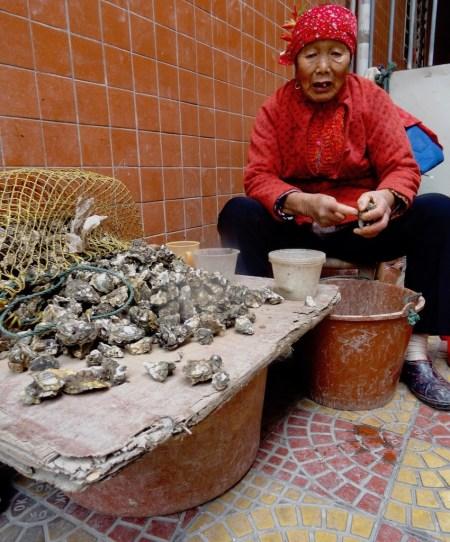 Old woman Xunpu Oyster Village Quanzhou China