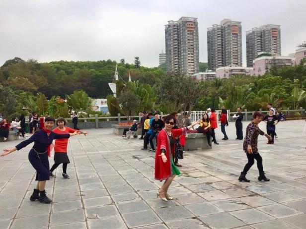 Traditional dancing Shenzhen International Garden and Flower Expo Park.