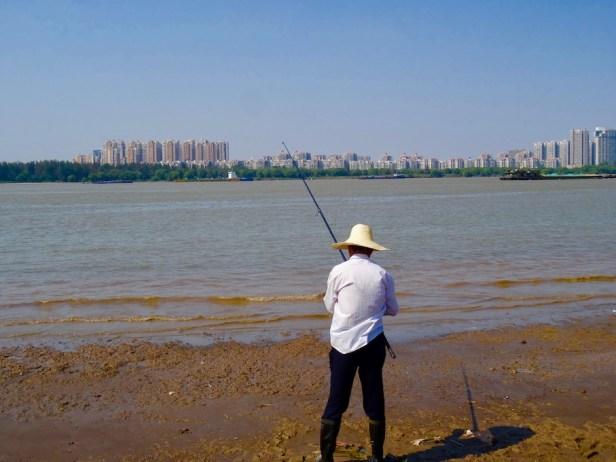 Yangtze River Bridge Beach Nanjing China.