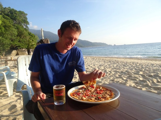 Pizza on ABC Beach Tioman Island Malaysia.