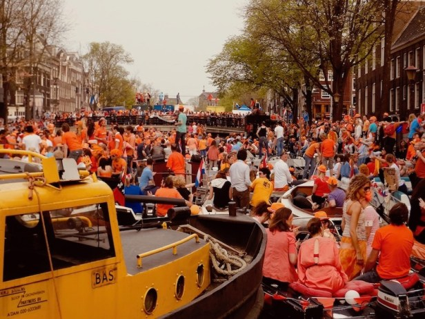 Canal gridlock Queen's Day Amsterdam.