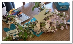 Spring blooms on the table represent new life in the couples