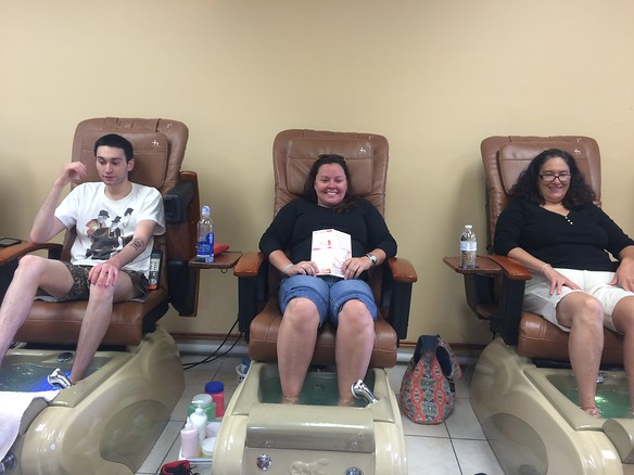 Family pedicure in Evergreen - Donovan, me and Norie