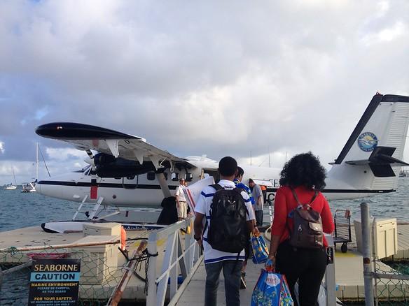 Boarding the Seaplane to St Thomas