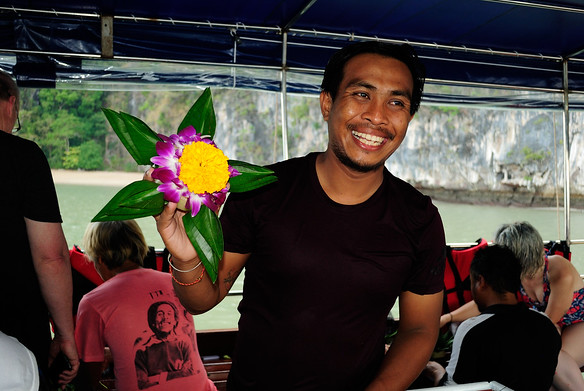 Our guide, Alex, with our krathong.  I thought this was the finished product, and was quite pleased!