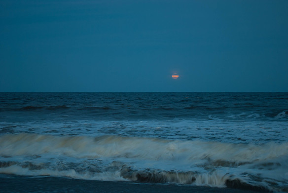 Full moon over Kure Beach