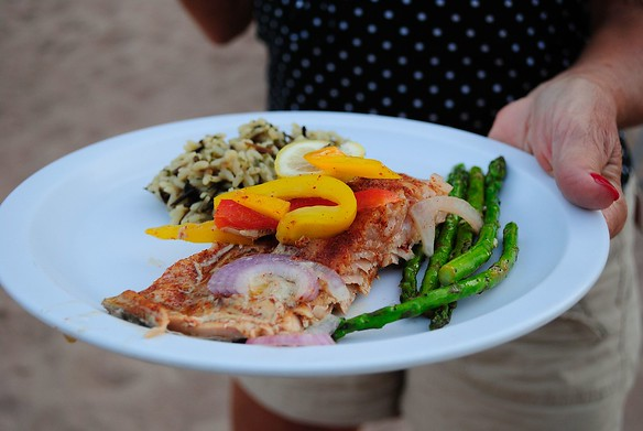 """Salmon (3 flavor options) with fresh veggies and wild rice?  So much for """"roughing it"""" this week!"""