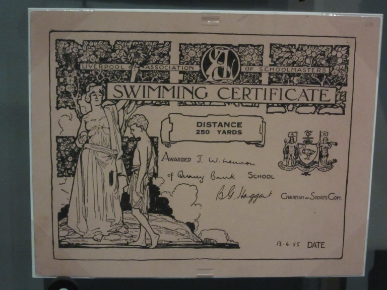John Lennon's Swimming Certificate as exhibited in the Rock and Roll Hall of Fame in Cleveland, Ohio. Photo: Maximilian Georg