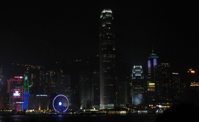 The waterfront at night, during daily Symphony of Lights show in Hong Kong. (Photo: Ana Ribeiro)