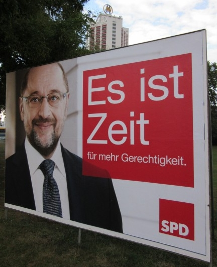 "The SPD and its leader, Martin Schulz: ""It is time for more justice."" (Photo: Maximilian Georg)"