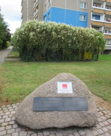 Site of the former ballroom at the intersection of Dresdner Straße and Gerichtsweg where in 1863, the General German Workers' Association (ADAV), today's SPD, was founded. (Photo: Maximilian Georg)