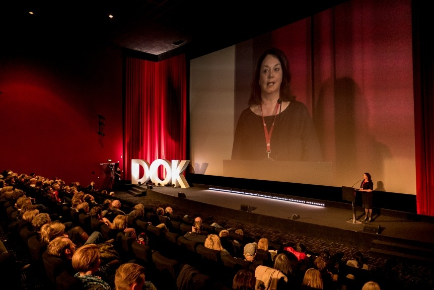 Festival director Leena Pasanen in the DOK Opening Ceremony, 2017. Photo: Susann Jehnichen.
