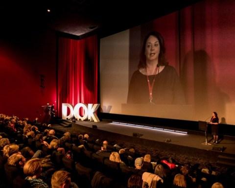 Festival director Leena Pasanen in the DOK Opening Ceremony, 2017. Photo: Susann Jehnichen.