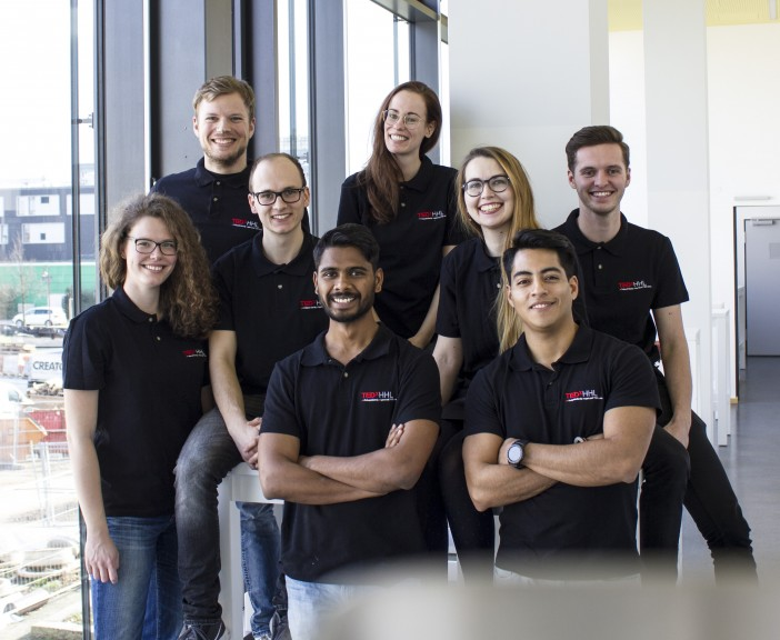 The TEDxHHL student team. From left to right and top down: Tim Rauch, Jill Tönsmann, Christiane Lüderitz, Luca Fahrion, Nataliya Demyanenko, Daniel Kanaan, Vinay Reddy, Renzo Aristondo. (Photo © TEDxHHL)