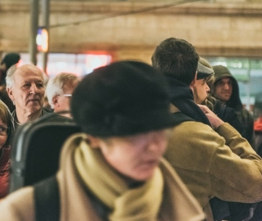"""Werner Herzog in the middle of audience at Hbf, watching his own film, """"Meeting Gorbachev,"""" 29 Oct 2018. (Photo: Justina Smile Photography)"""