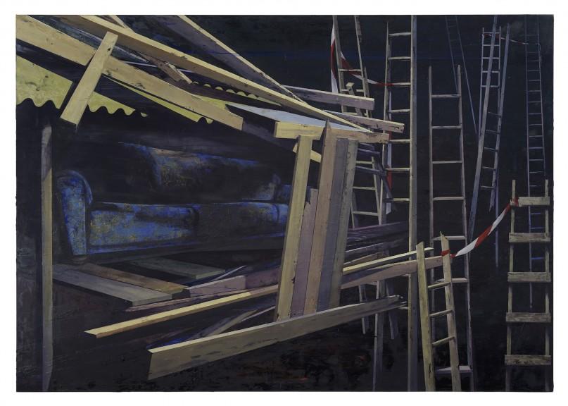 Katrin Heichel, Scheitern [Heim III] 2018, Oil on Canvas, 210x300cm, photo courtesy of Josef Fillipp Gallery