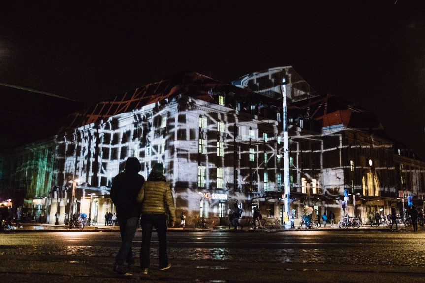 Lichtfest 2019, light projections on building