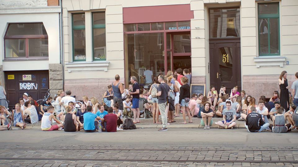 Entrance to Helmut Space with a crowd outside