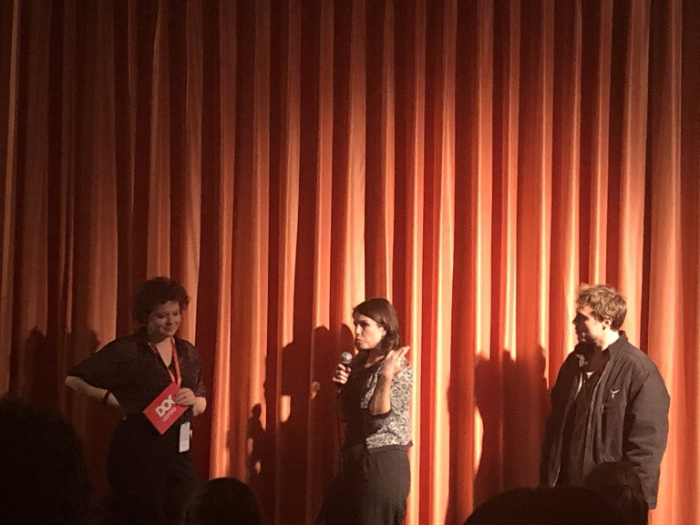 Fernanda Pessoa answering questions about her film Arid Zone