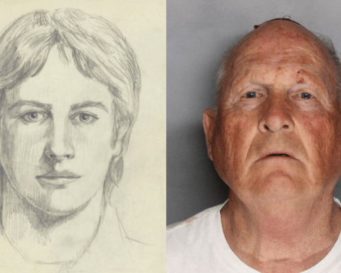Sketch of EARONS Golden State Killer and mugshot of Joseph James DeAngelo from I'll Be Gone in the Dark