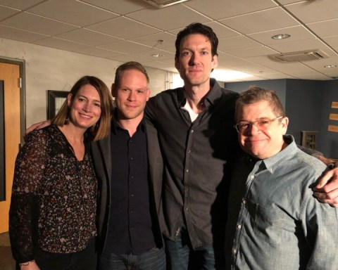 Gillian Flynn, Paul Haynes, Billy Jensen and Patton Oswalt in Chicago backstage at a book event the day the Golden State Killer