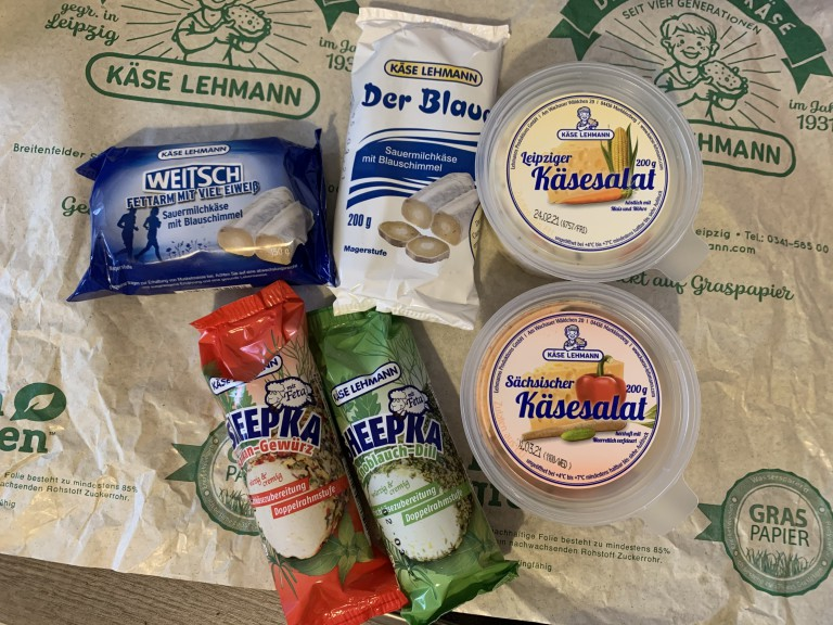 Käse Lehmann products; Der Blaue, Leipziger Käsesalat, Sächsicher Käsesalat, Sheepka, Sauermilchkäse
