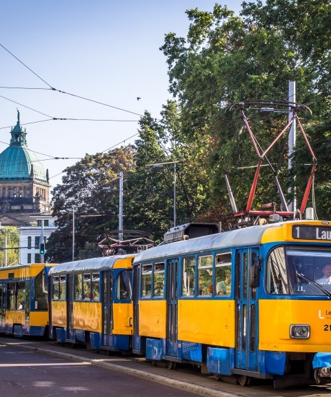 Leipzig Tatra tram 1 near Bundesverwaltungsgericht