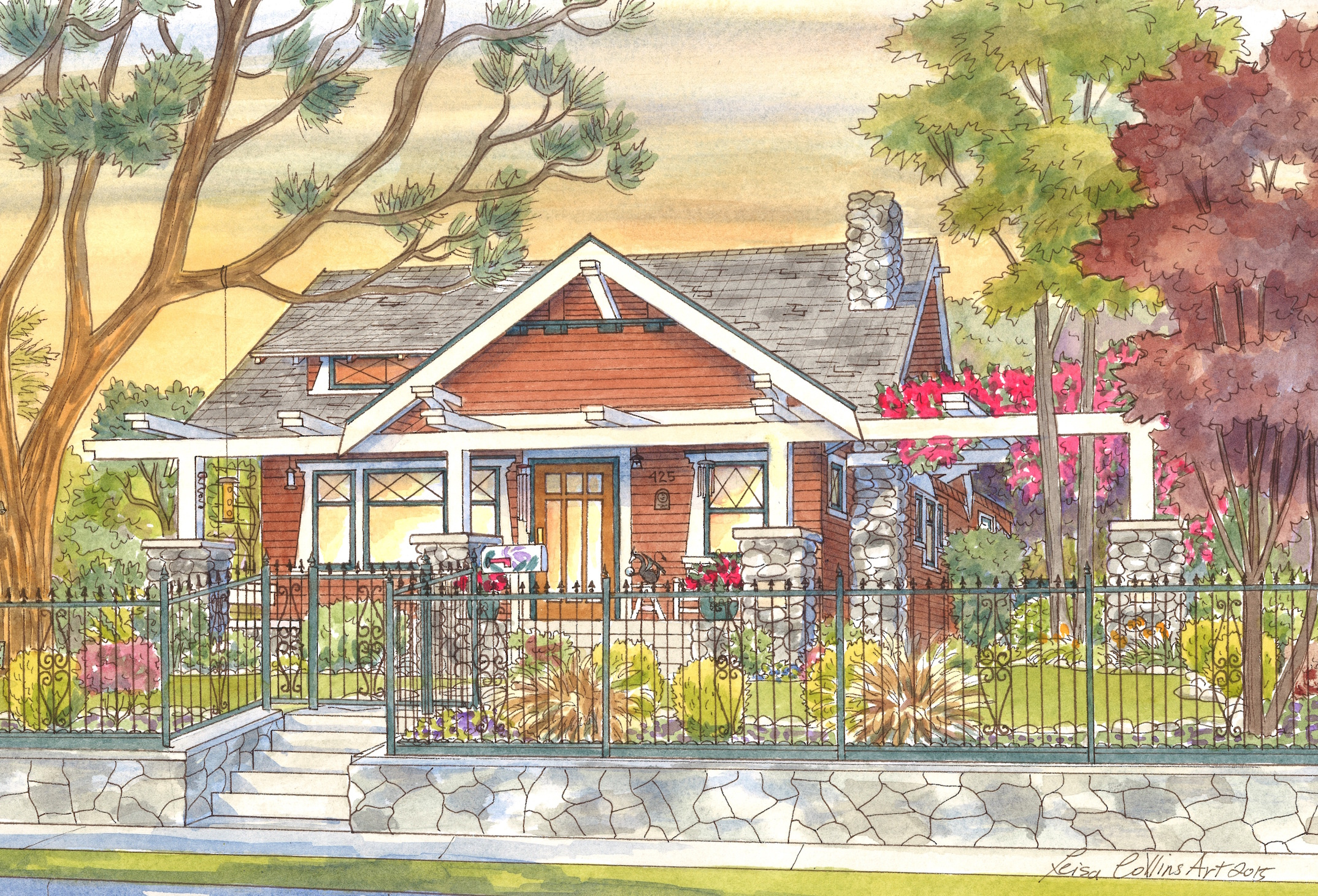 House Paintings leisa collins art - architectural, cityscape, house paintings and