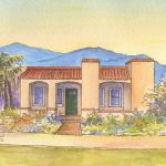 Adobe Spanish bungalow house portrait: Phoenix, AZ