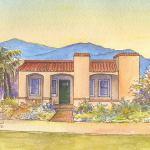 Adobe Spanish bungalow house portrait: Phoenix, AZ