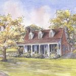 Colonial revival house portrait: Rural, OK