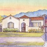 Watercolor house portrait painting of Spanish Revival bungalow in Pasadena, CA