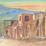 Watercolor painting of historic acoma pueblo in New Mexico by Leisa Collins