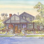 Craftsman style house portrait in South Pasadena CA