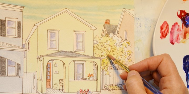 What are the stages in creating a Pen & Watercolor House Portrait?