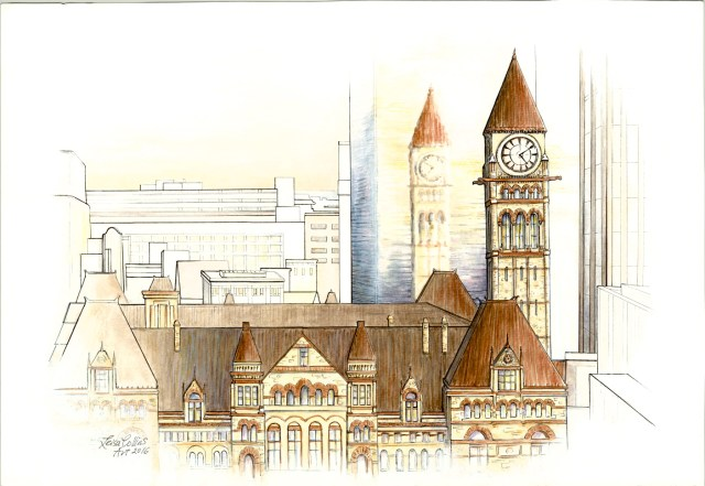 OPTArchitectural-Fusion---Old-City-Hall-Toronto-----Pen-&-Watercolor-13-x-19-inches-on-paper