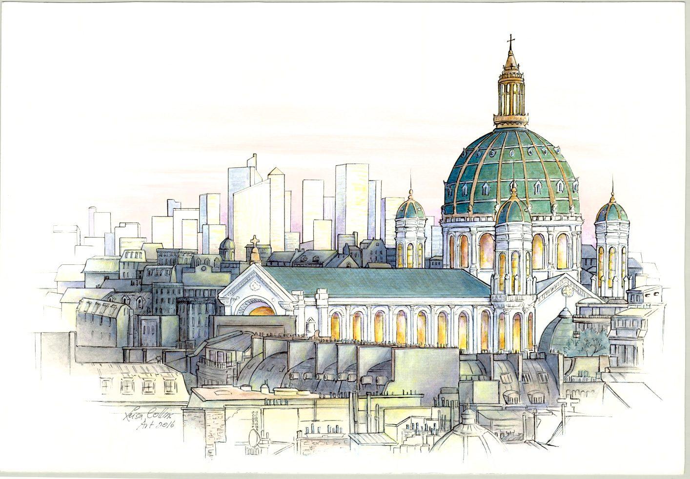 OPTArchitectural-Fusion---Paris-City-Scape-----Pen-&-Watercolor-13-x-19-inches-on-paper