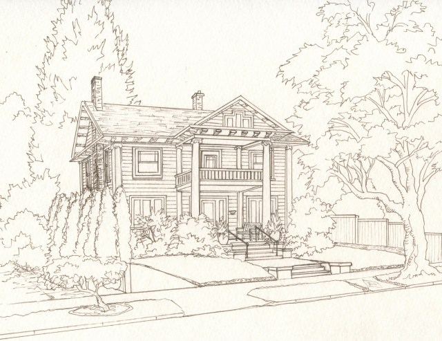 Step 4. Pen Drawing of house